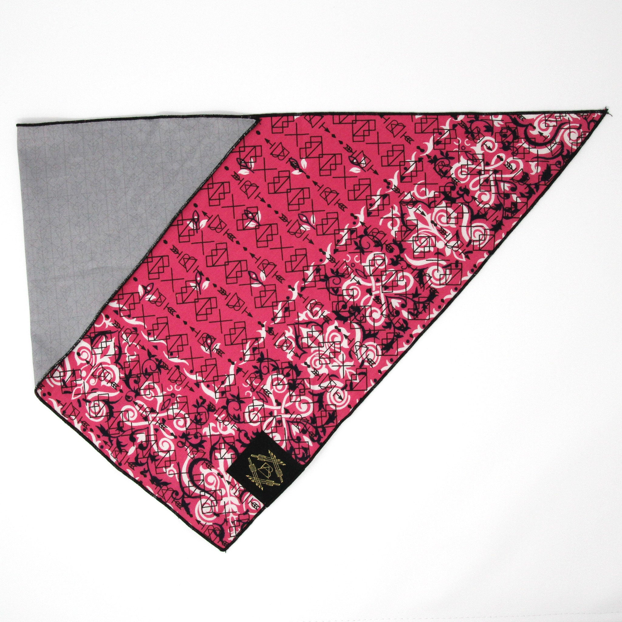 Pink Vintage Dog Bandana With Black Screen Printing