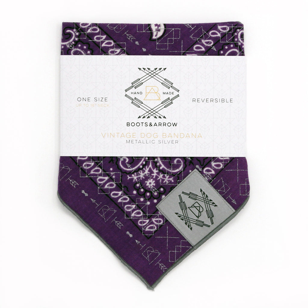 Purple Vintage Dog Bandana With Metallic Silver Screen Printing