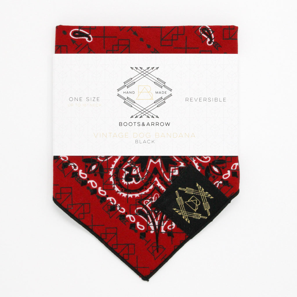 Classic Red Vintage Dog Bandana With Black Screen Printing