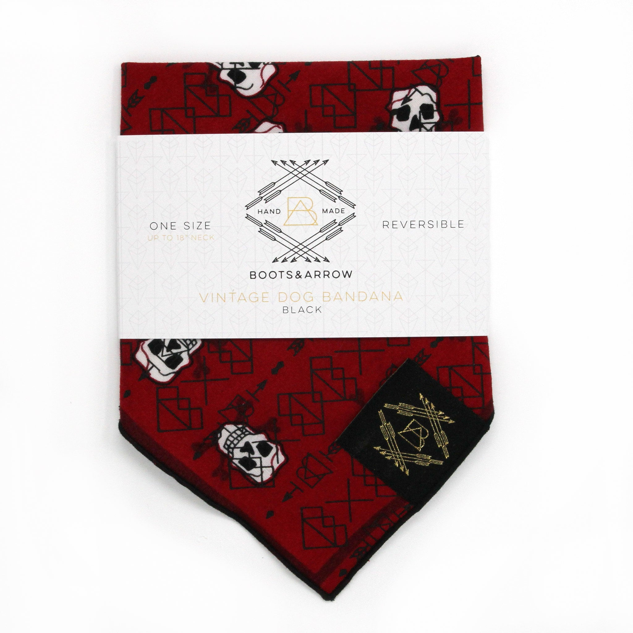 Red Skulls Vintage Dog Bandana With Black Screen Printing