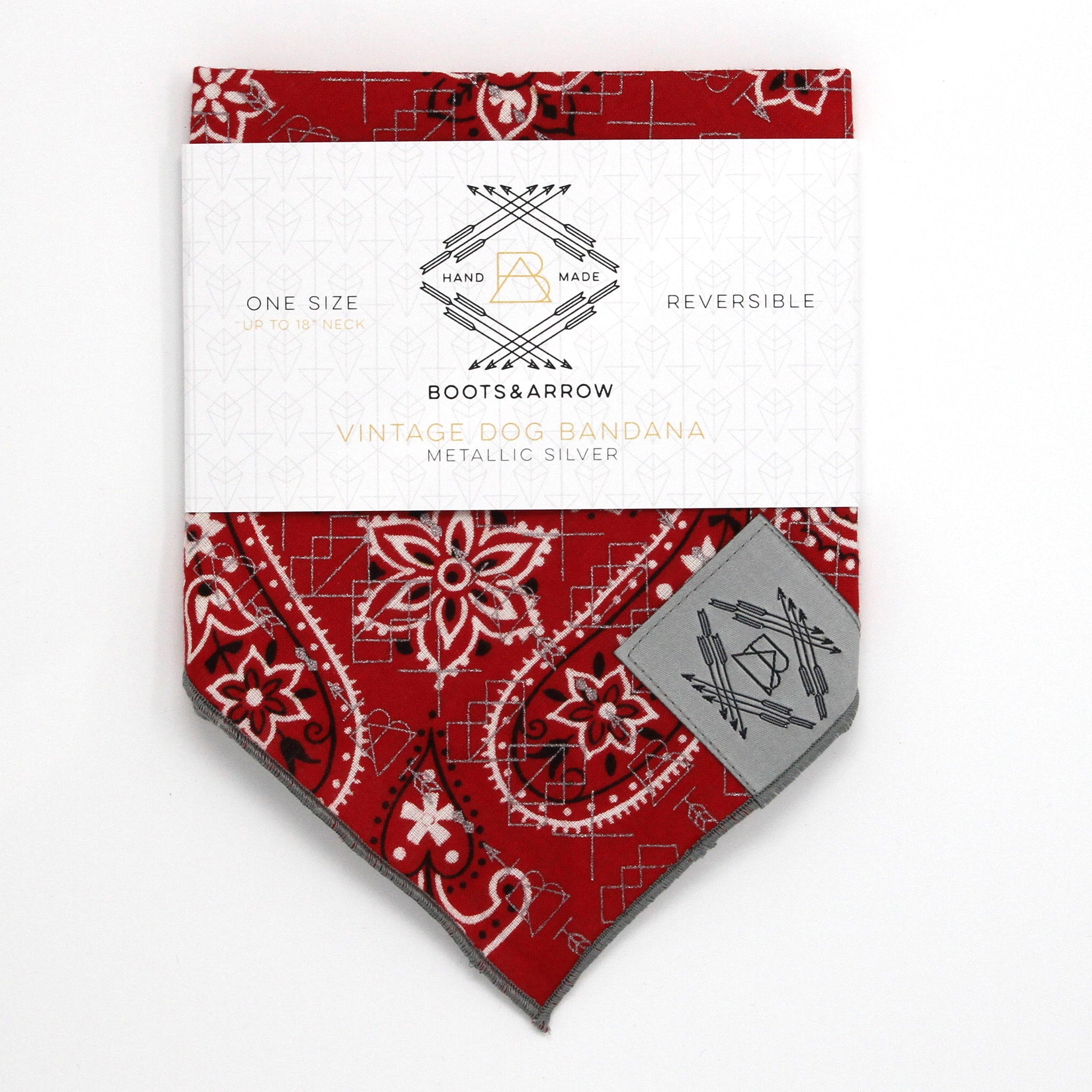 Classic Red Vintage Dog Bandana With Metallic Silver Screen Printing
