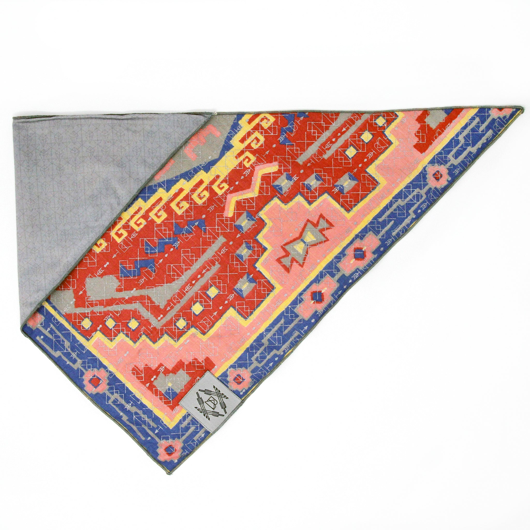 Southwest Sands Vintage Dog Bandana With Metallic Silver Screen Printing