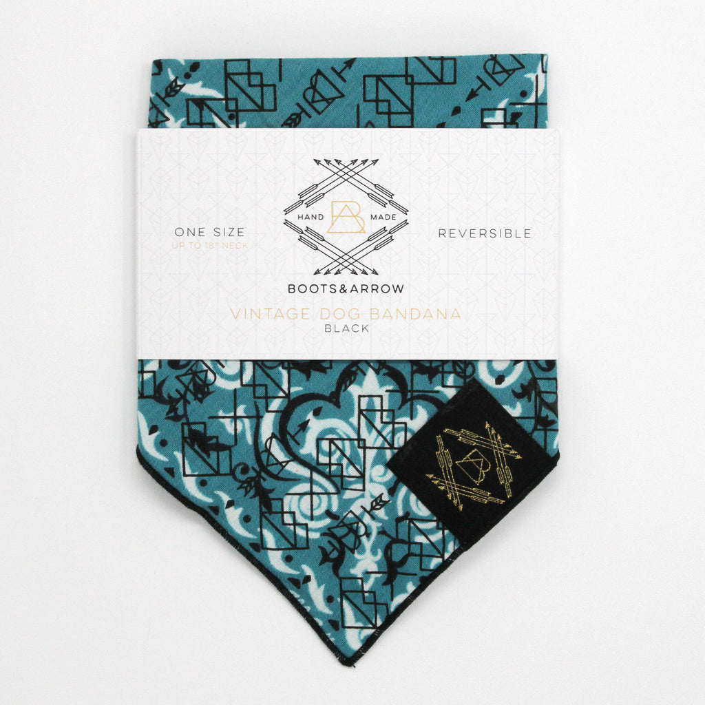 Teal Vintage Dog Bandana With Black Screen Printing