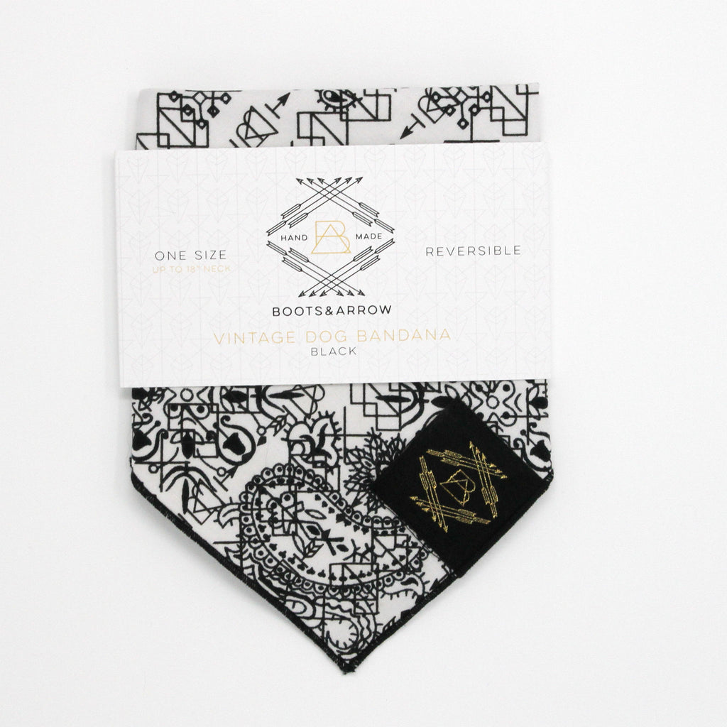 White Vintage Dog Bandana With Black Screen Printing