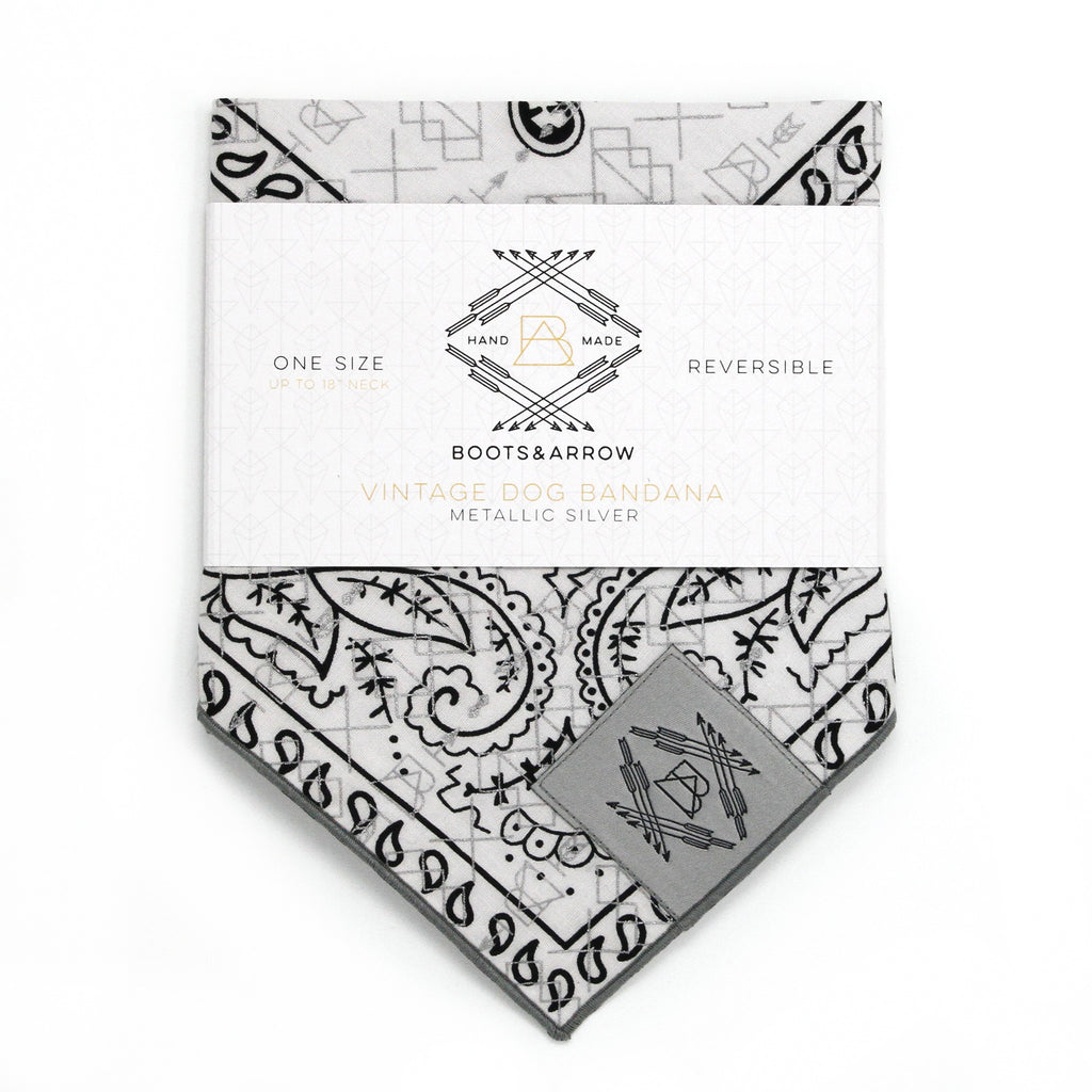 Black + White Vintage Dog Bandana With Metallic Silver Screen Printing