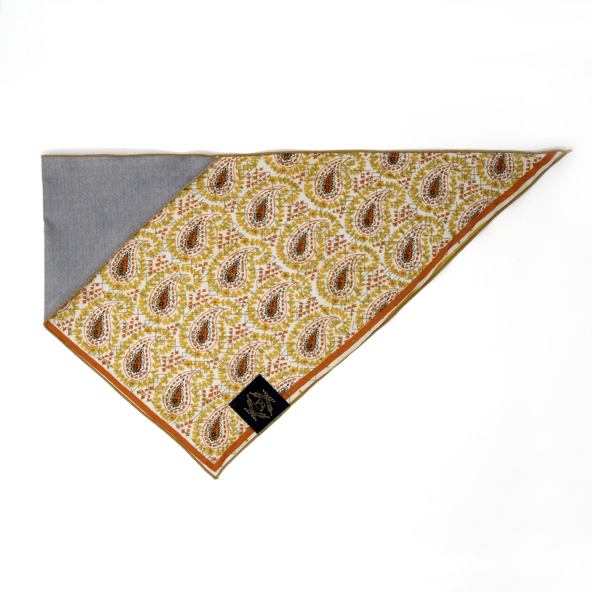 Yellow + Orange Bandana with Metallic Gold Screen Printing