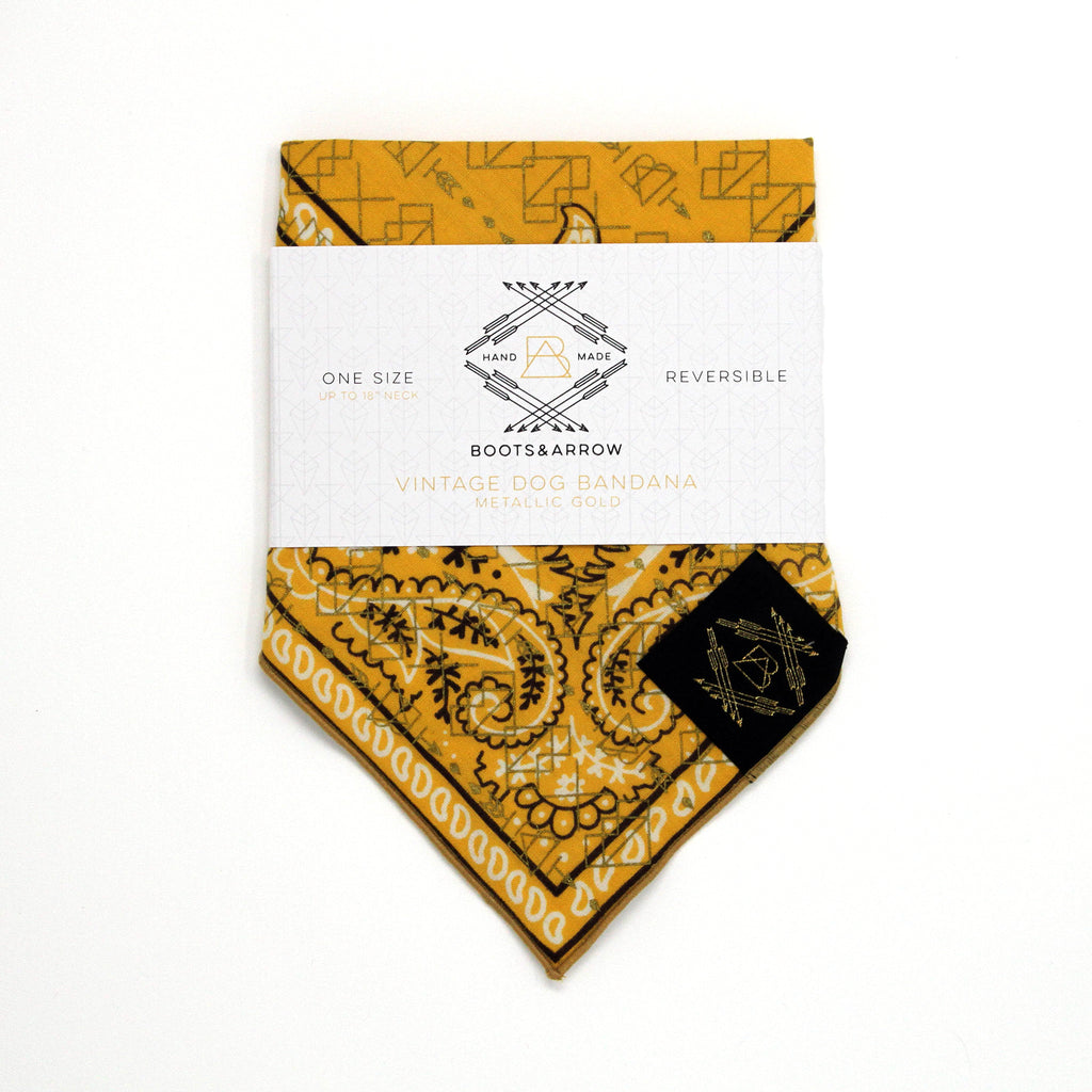 Yellow + Brown Vintage Dog Bandana with Metallic Gold Screen Printing