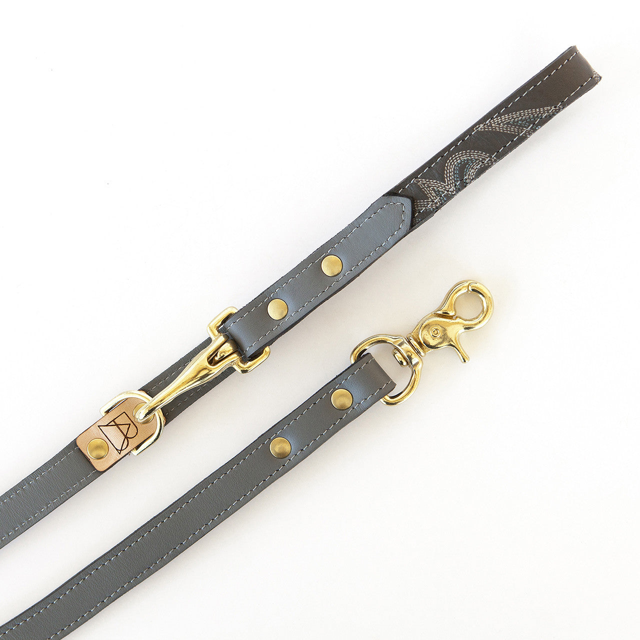 Basic Gray Leather Dog Leash