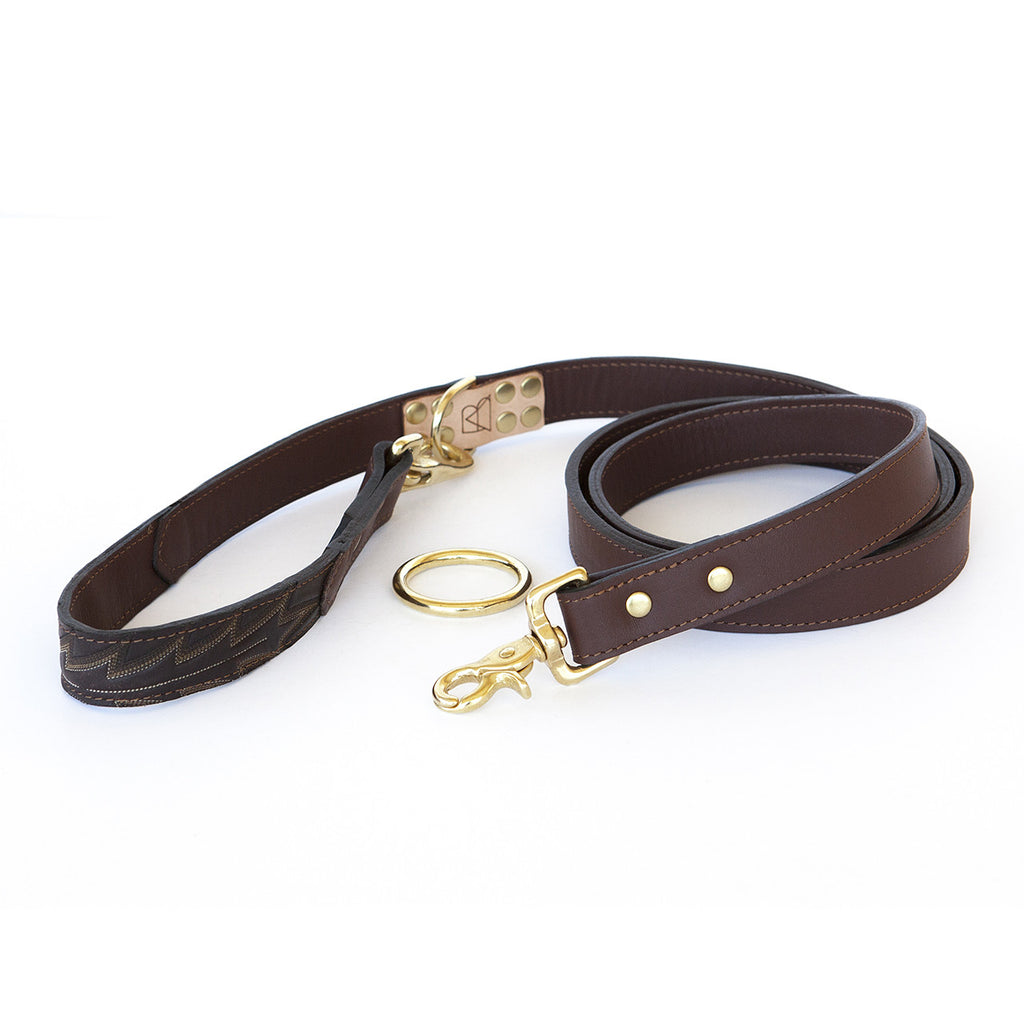 Four Way Mahogany Brown Leather Dog Leash