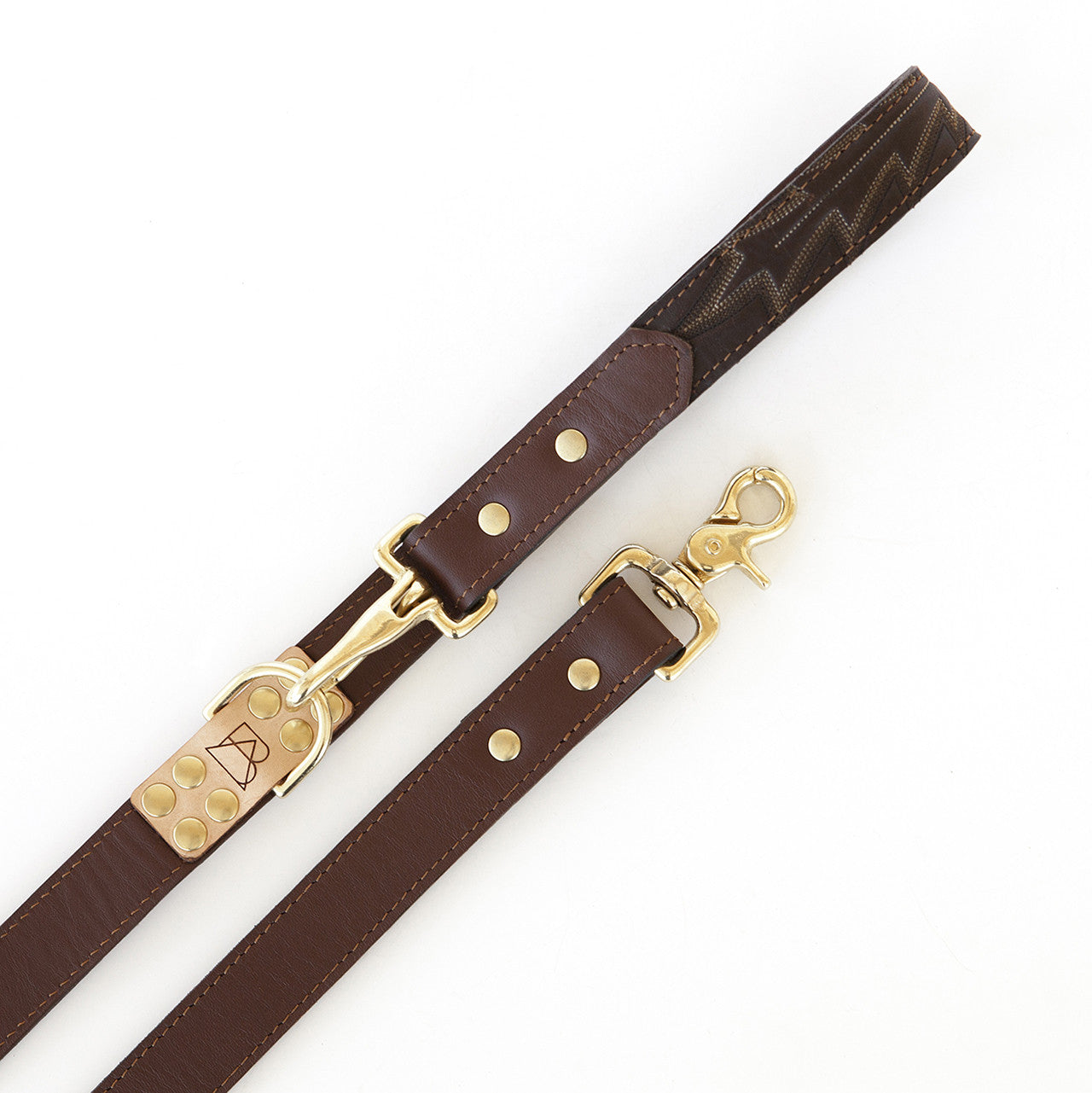 Four Way Mahogany Brown Leather Dog Leash (close up)