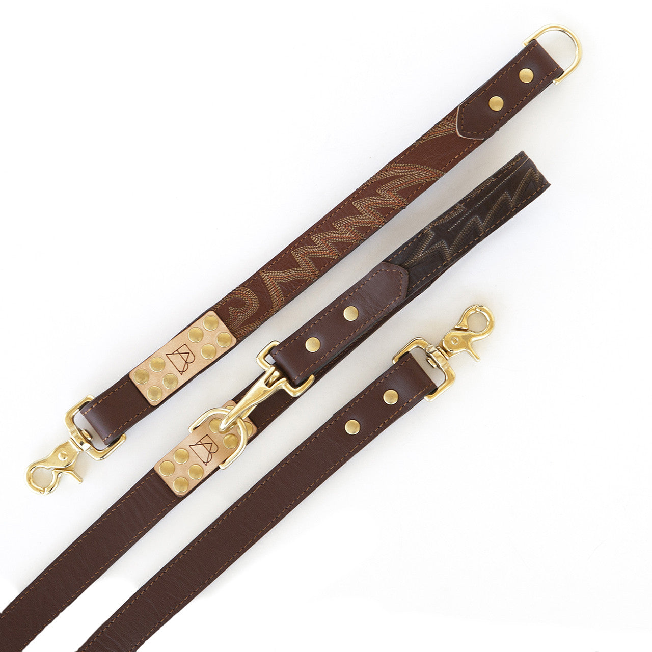 Four Way Mahogany Brown Leather Dog Leash (sections)