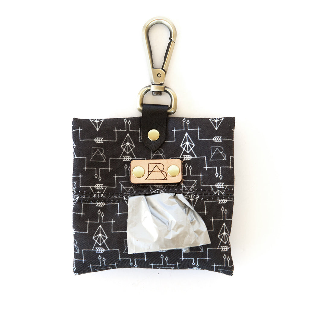 Black Arrow Dog Poop Bag Holder (front view)