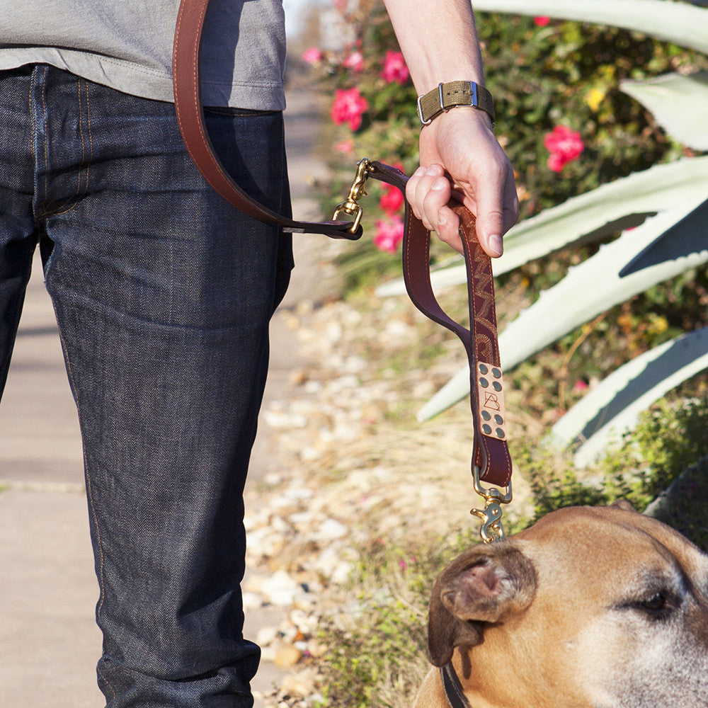 Four Way Mahogany Brown Leather Dog Leash (short grip)