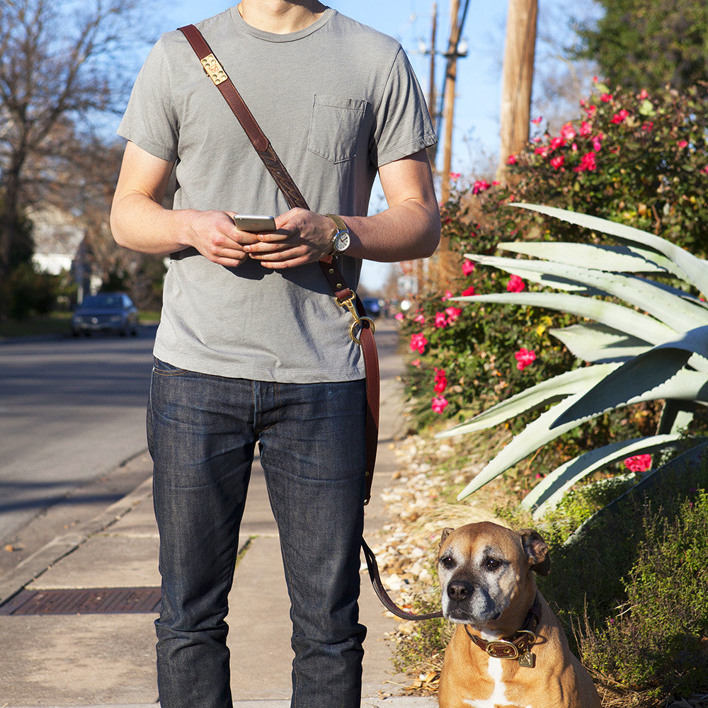 Four Way Mahogany Brown Leather Dog Leash (cross body)