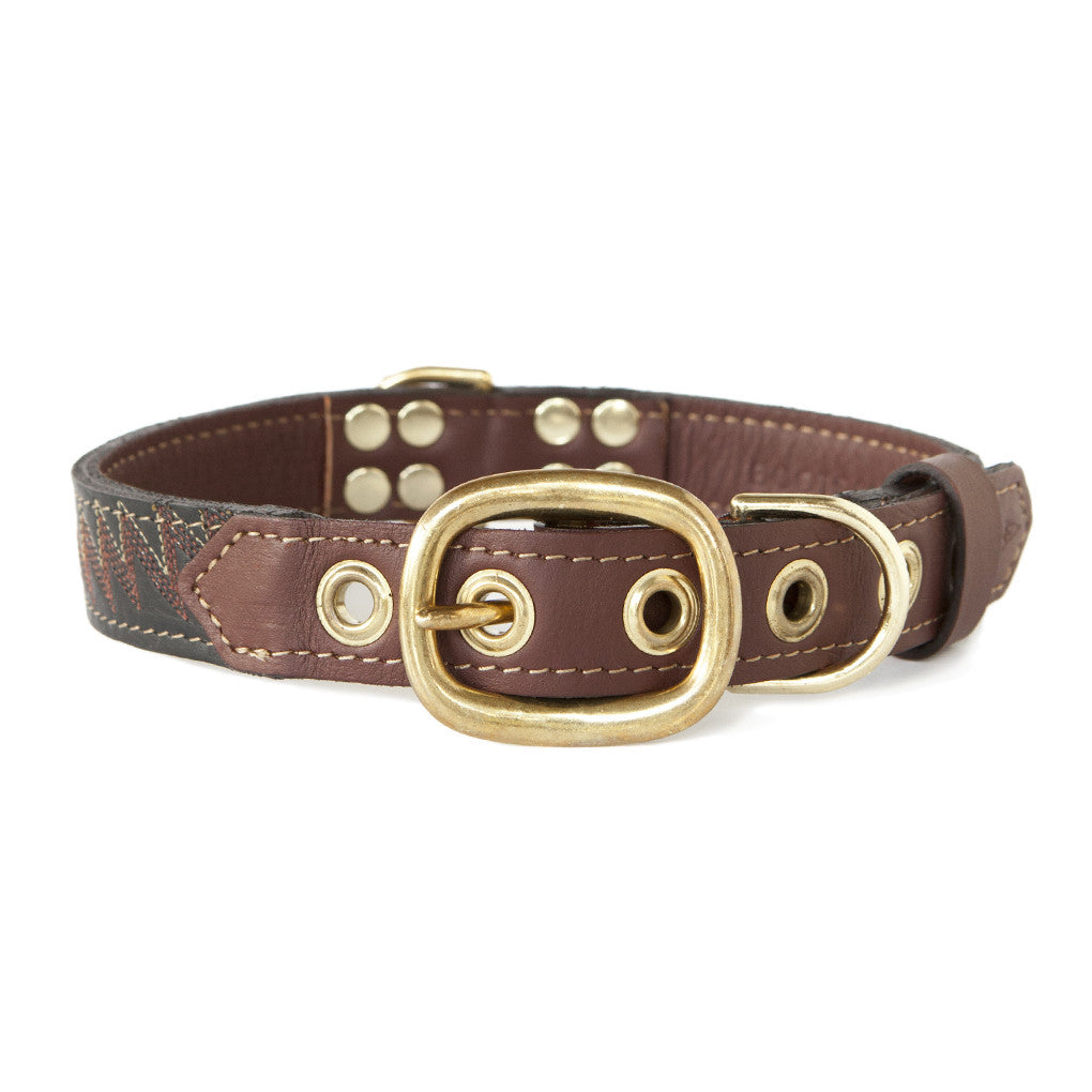Mahogany Brown Dog Collar With Deep Maroon Leather + Plum/Ivory Stitching