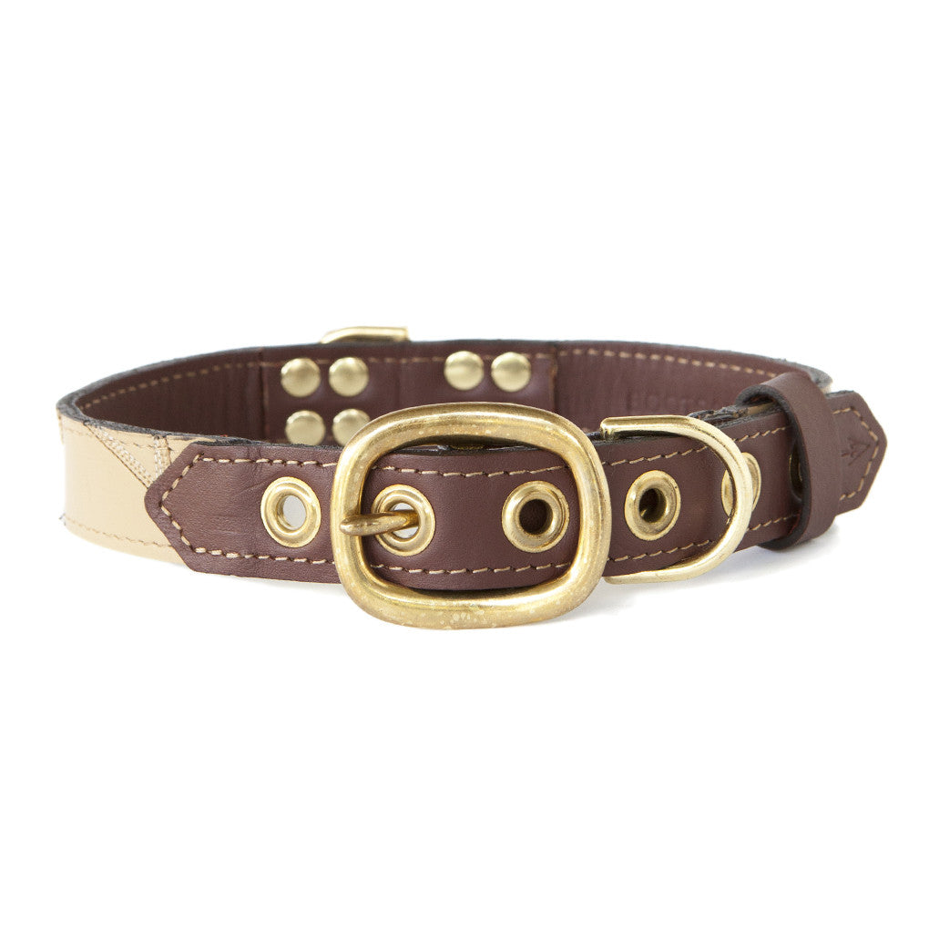 Mahogany Brown Dog Collar With Ivory Leather + Brown/Ivory Stitching