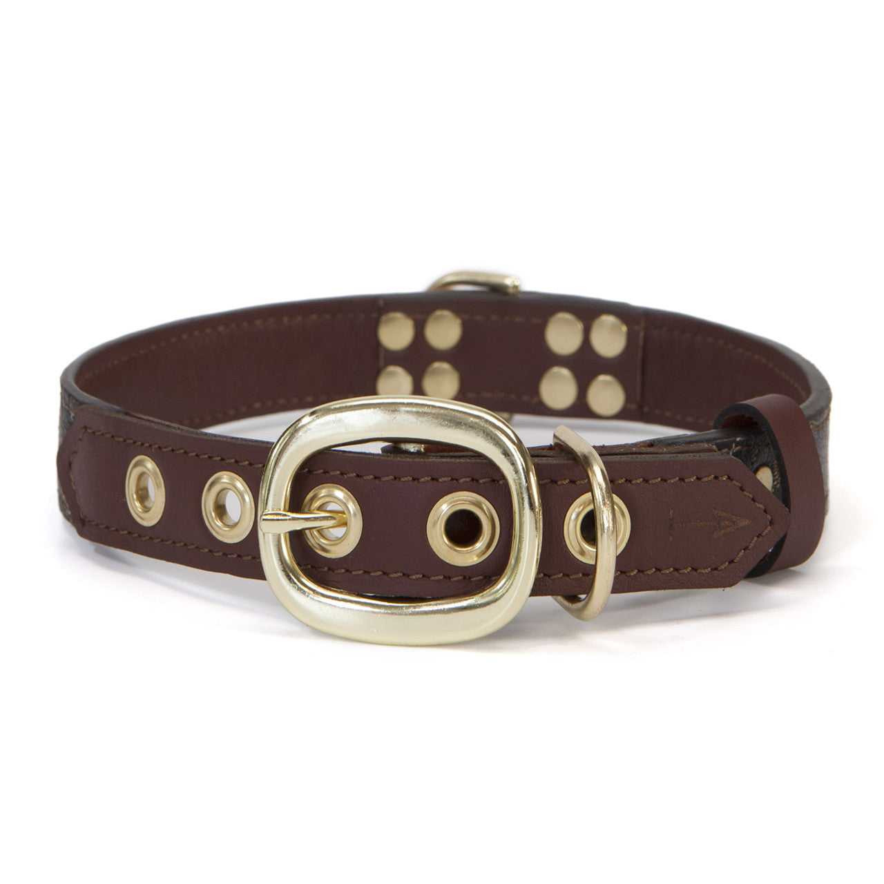 Mahogany Brown Dog Collar with Black Leather + Tan/Light Brown Stitching (back view)