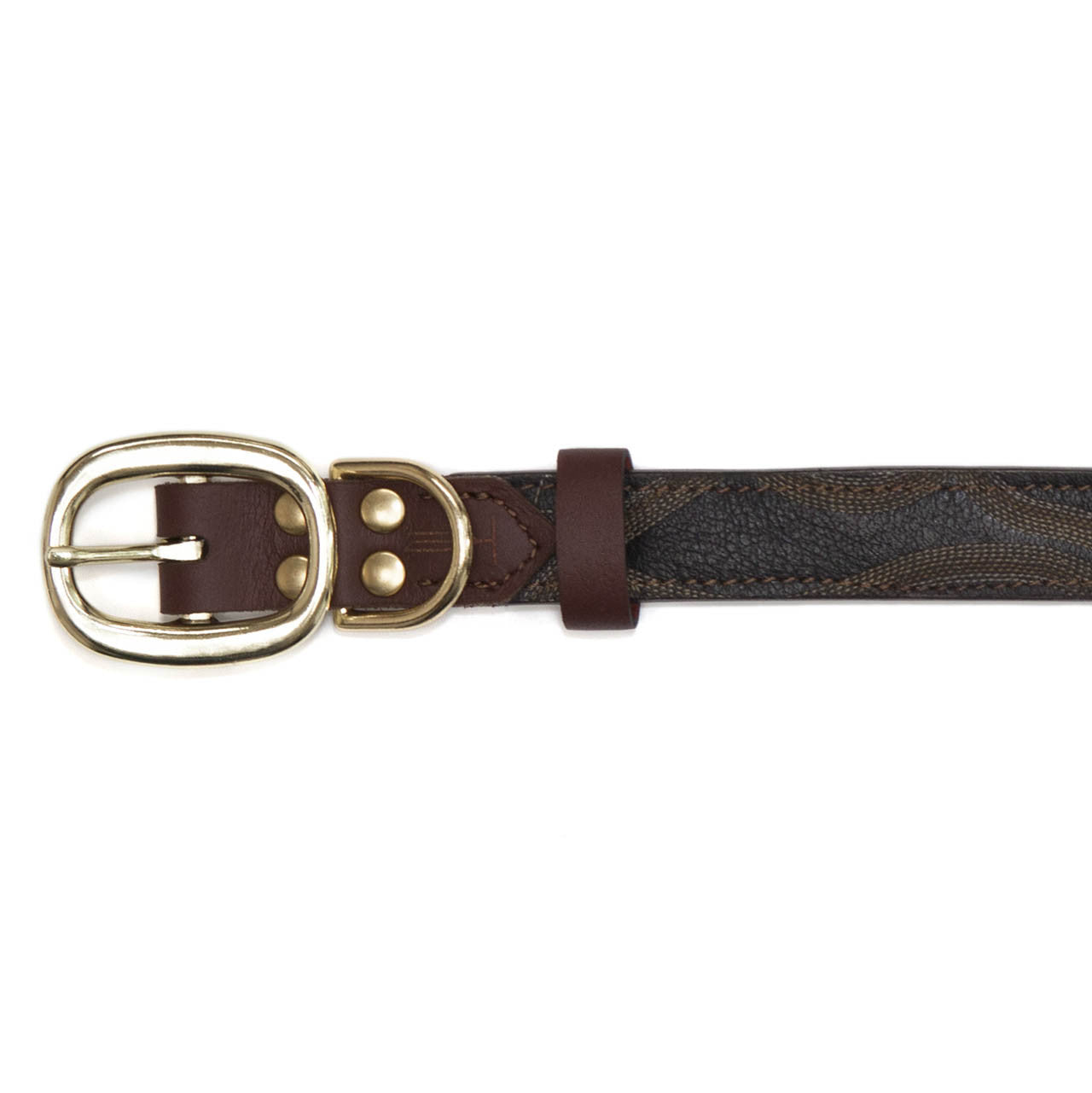 Mahogany Brown Dog Collar with Black Leather + Tan/Light Brown Stitching (buckle)