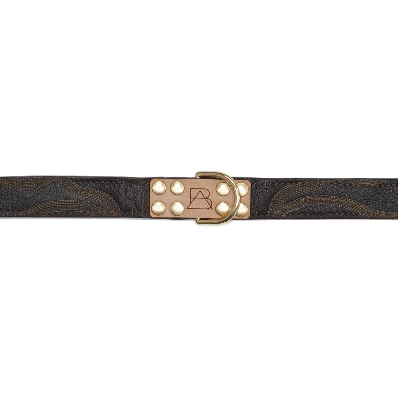 Mahogany Brown Dog Collar with Black Leather + Tan/Light Brown Stitching (tag)