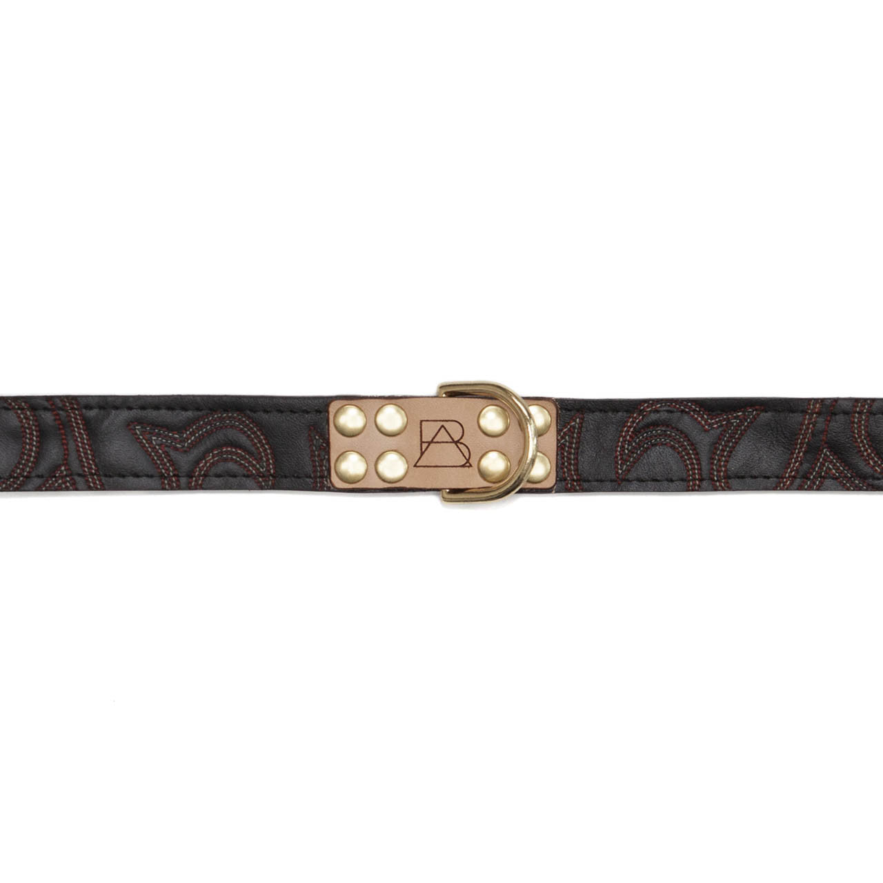 Black Dog Collar with Black Leather + Red Stitching (tag)
