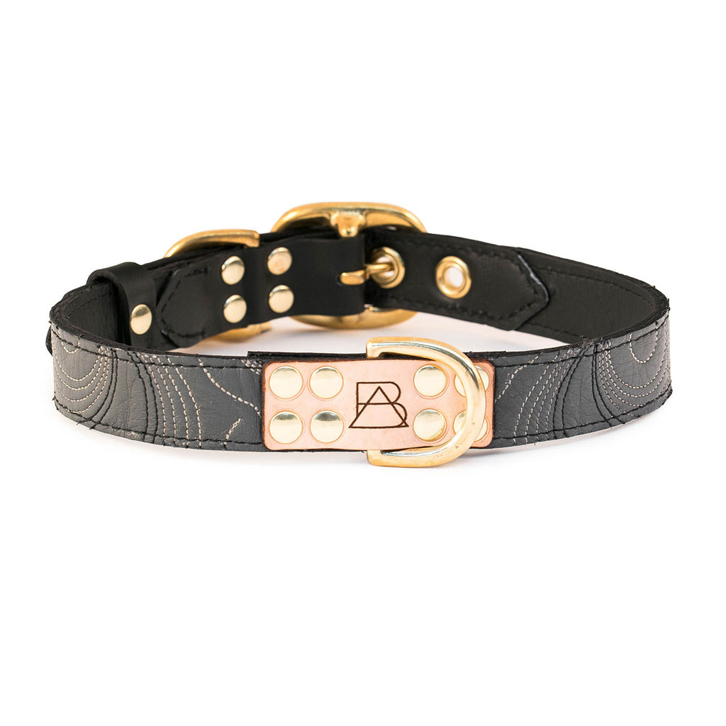Black Dog Collar with Gray Leather + Ivory and Black Stitching