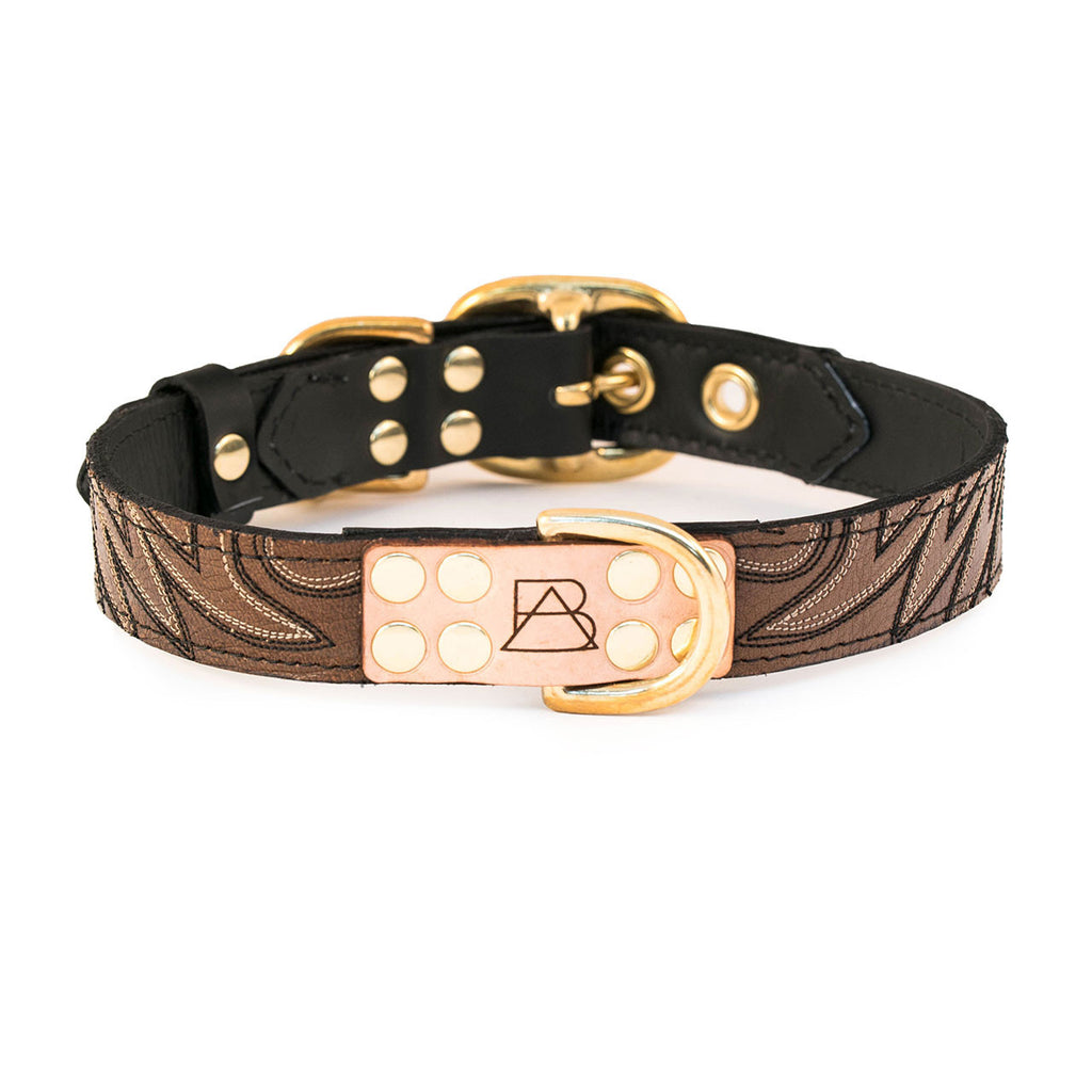 Black Dog Collar with Brown Leather + Black and Ivory Stitching