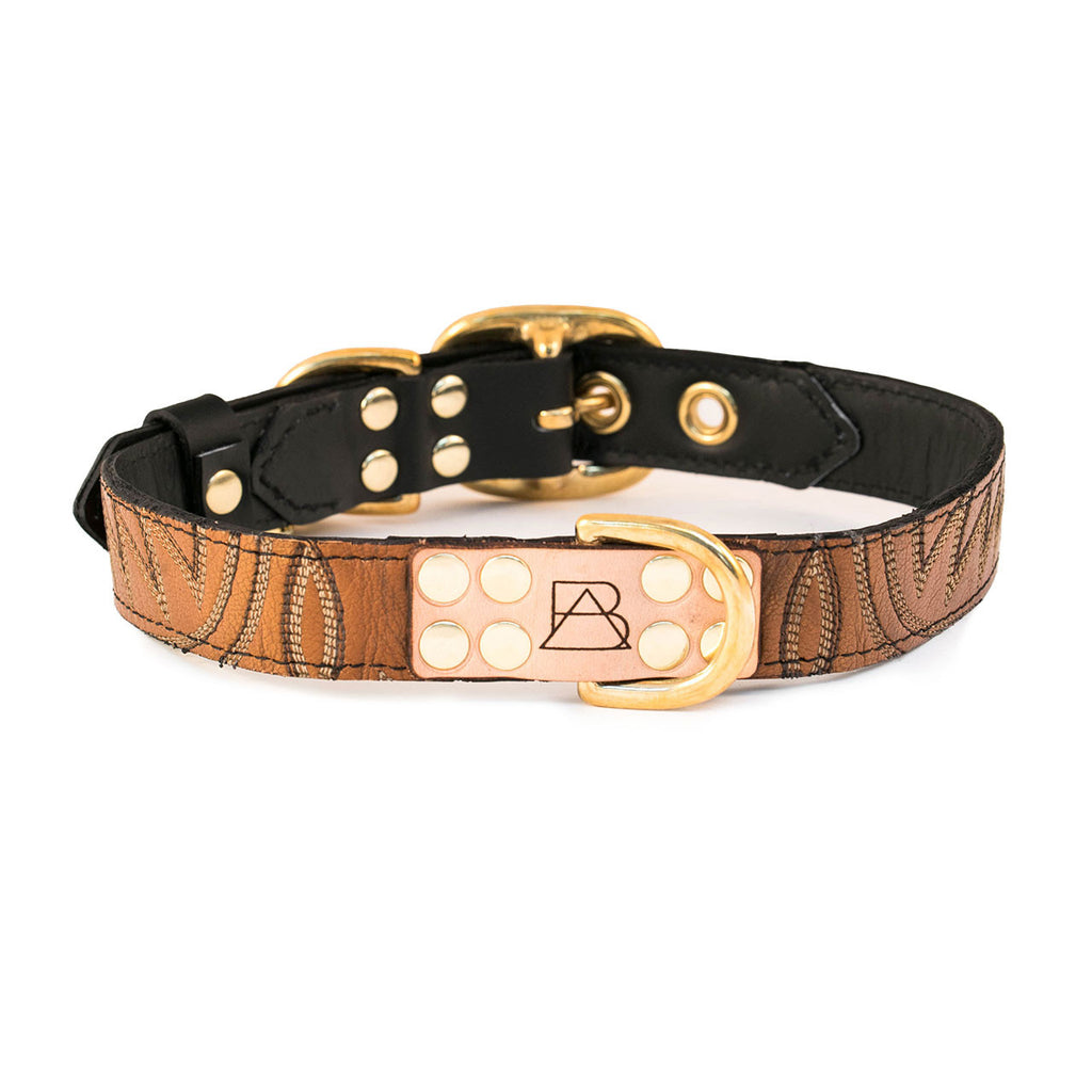 Black Dog Collar with Tan Leather + Brown and Beige Stitching