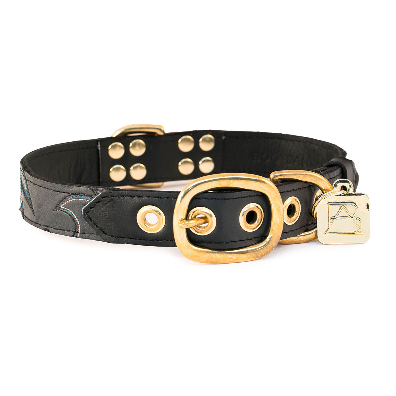 Black Dog Collar with Dark Gray Leather + Black, Blue and Ivory Stitching