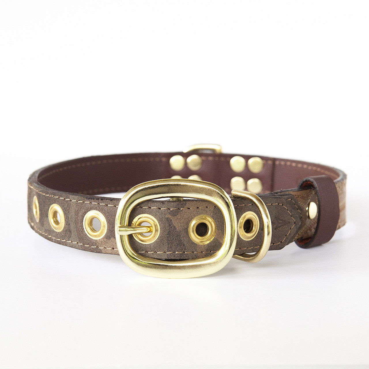 Camo Dog Collar with Tan Leather + Brown and White Stitching (back view)