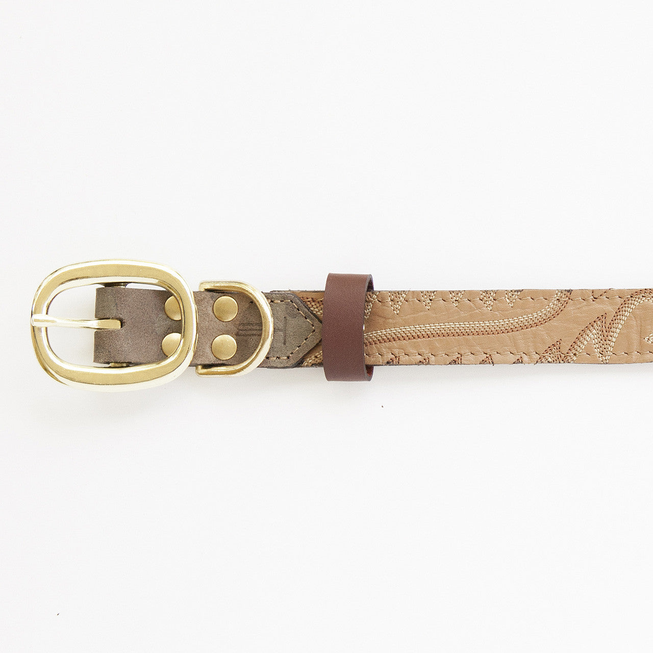 Camo Dog Collar with Tan Leather + Brown and White Stitching (buckle)