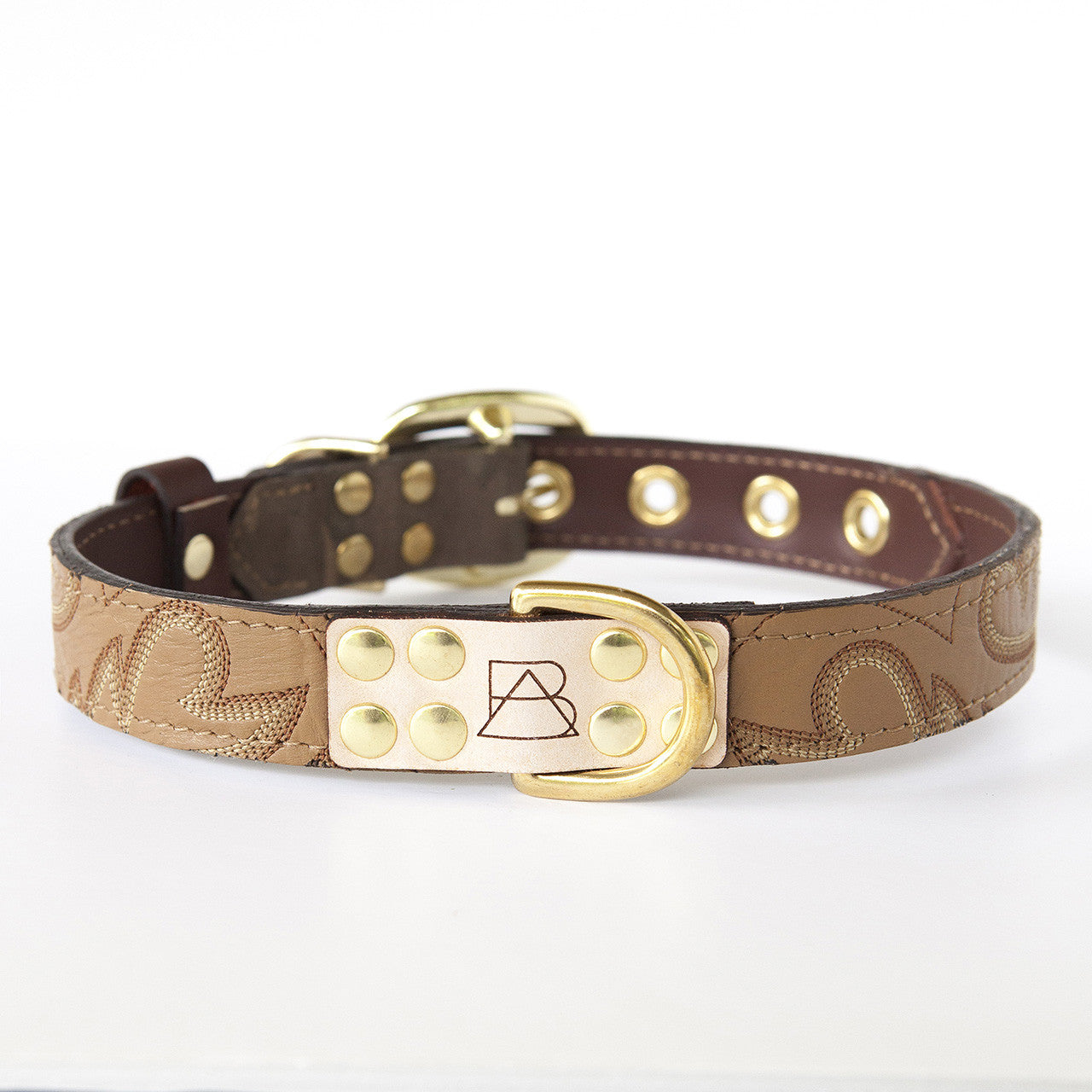 Camo Dog Collar with Tan Leather + Brown and White Stitching (front view)