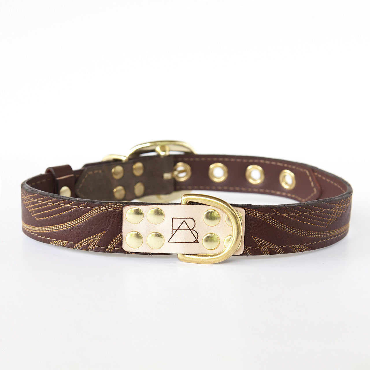 Camo Dog Collar with Brown Leather + Ivory Stitching (front view)