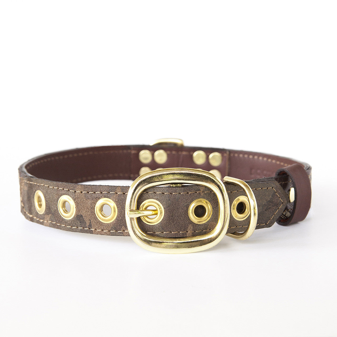 Camo Dog Collar with Chocolate Leather + Ivory Swirl Stitching (back view)