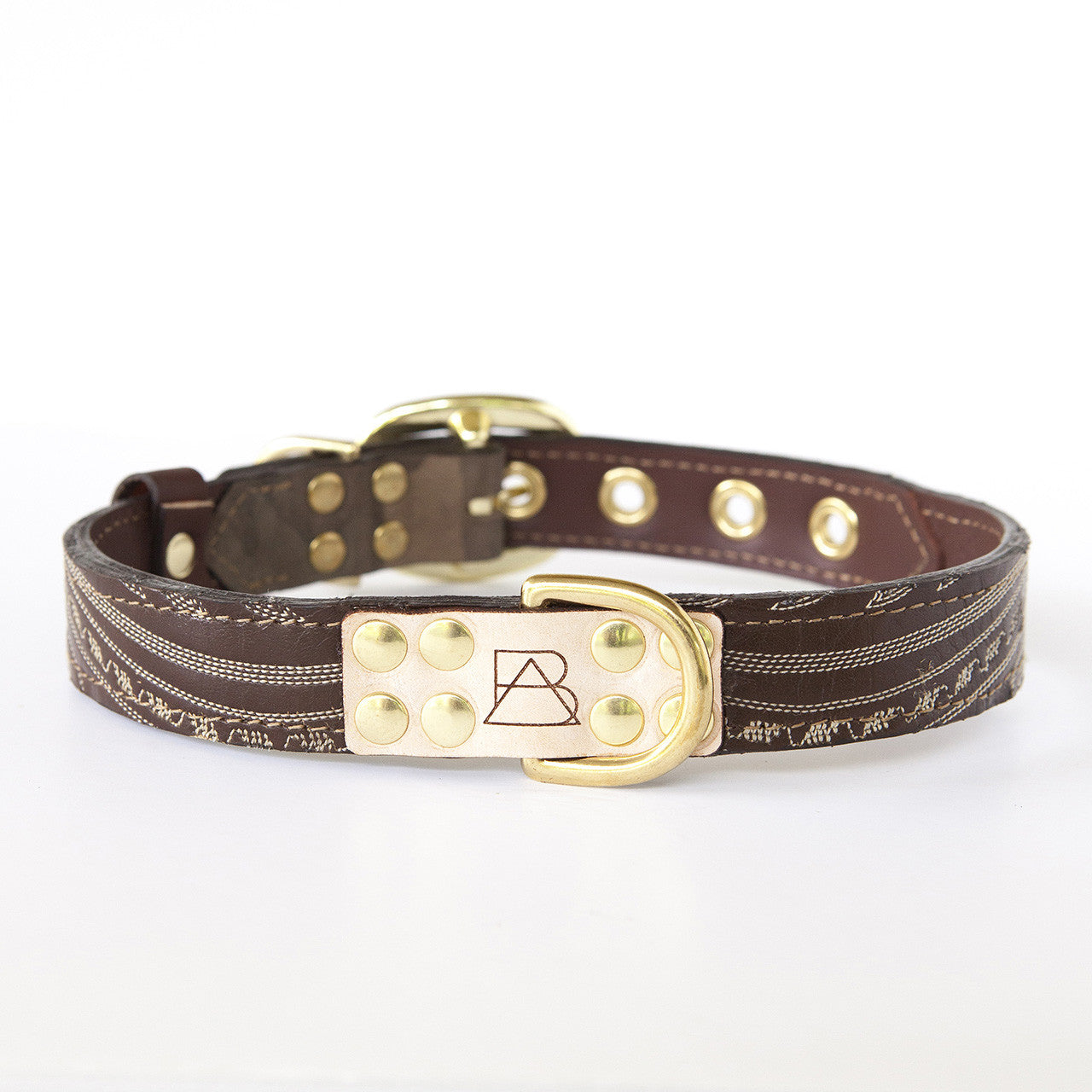 Camo Dog Collar with Chocolate Leather + Ivory Swirl Stitching (front view)