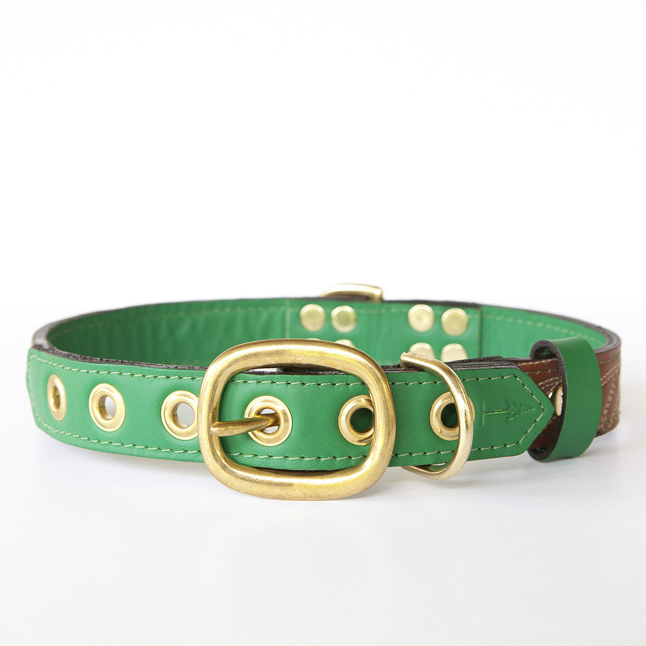 Emerald Green Dog Collar with Brown Leather + Ivory Stitching (back view)