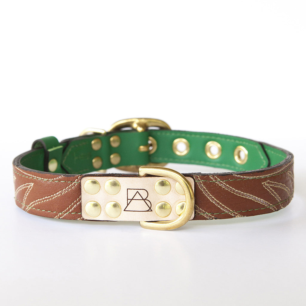 Emerald Green Dog Collar with Brown Leather + Ivory Stitching (front view)