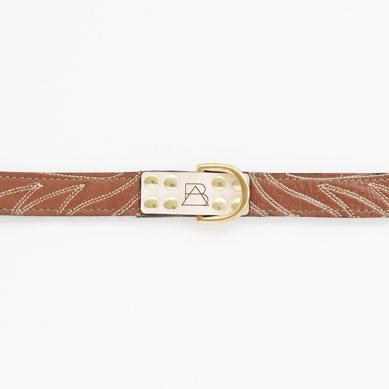 Emerald Green Dog Collar with Brown Leather + Ivory Stitching (tag)