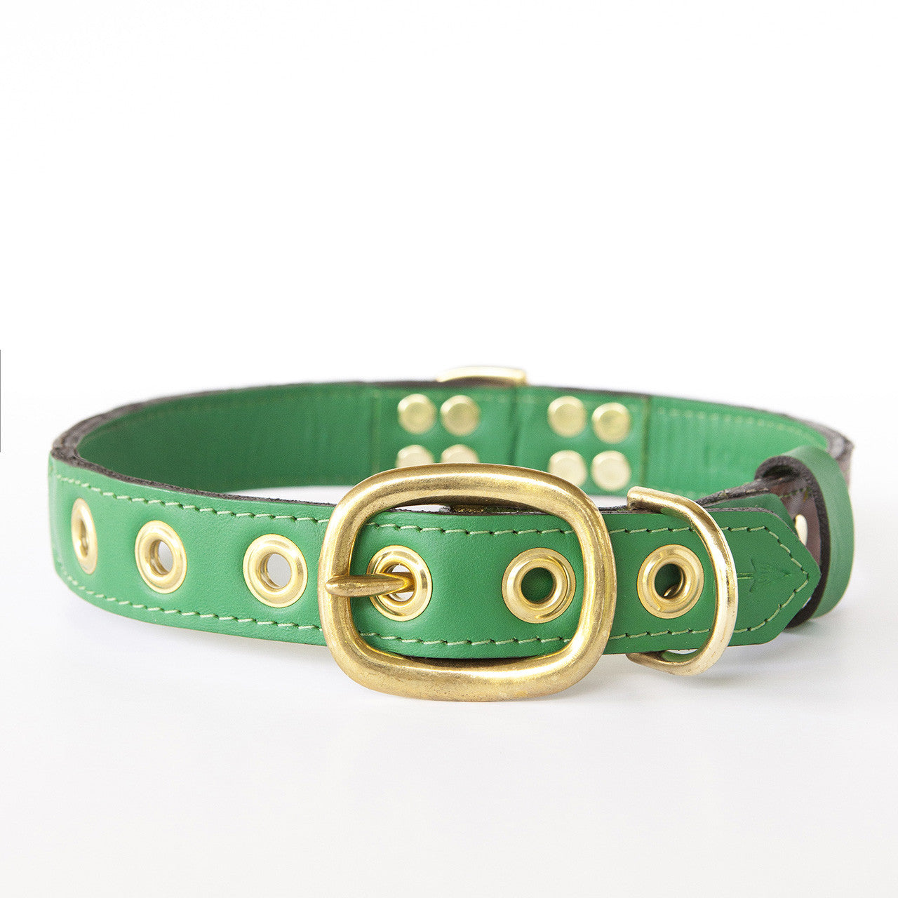 Emerald Green Dog Collar with Chocolate Leather + Green and Yellow Spike Stitching (back view)