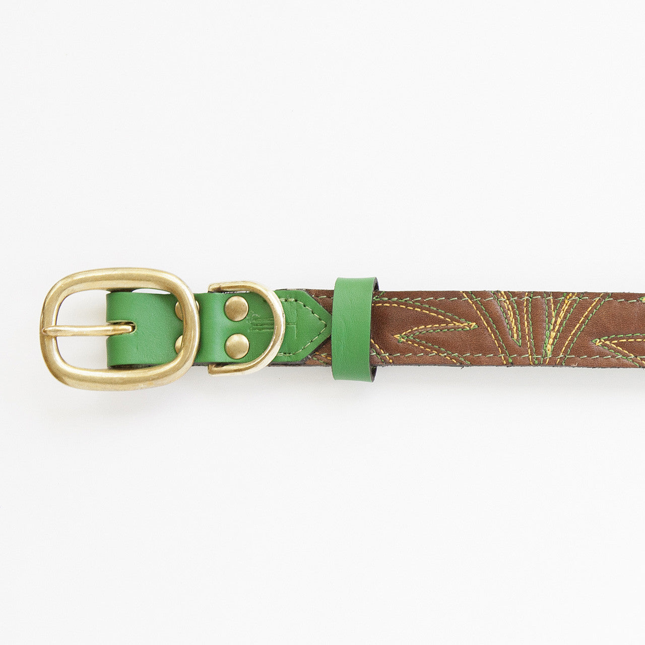 Emerald Green Dog Collar with Chocolate Leather + Green and Yellow Spike Stitching (buckle)