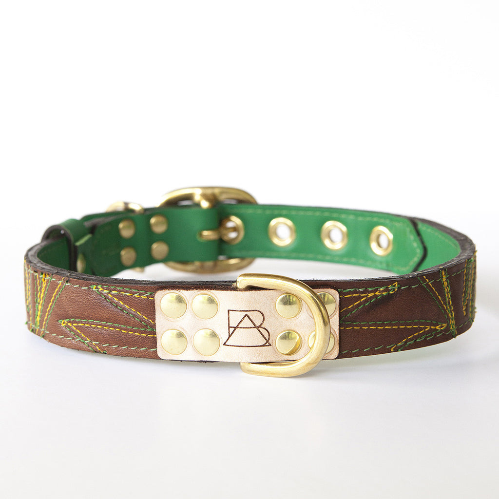 Emerald Green Dog Collar with Chocolate Leather + Green and Yellow Spike Stitching (front view)