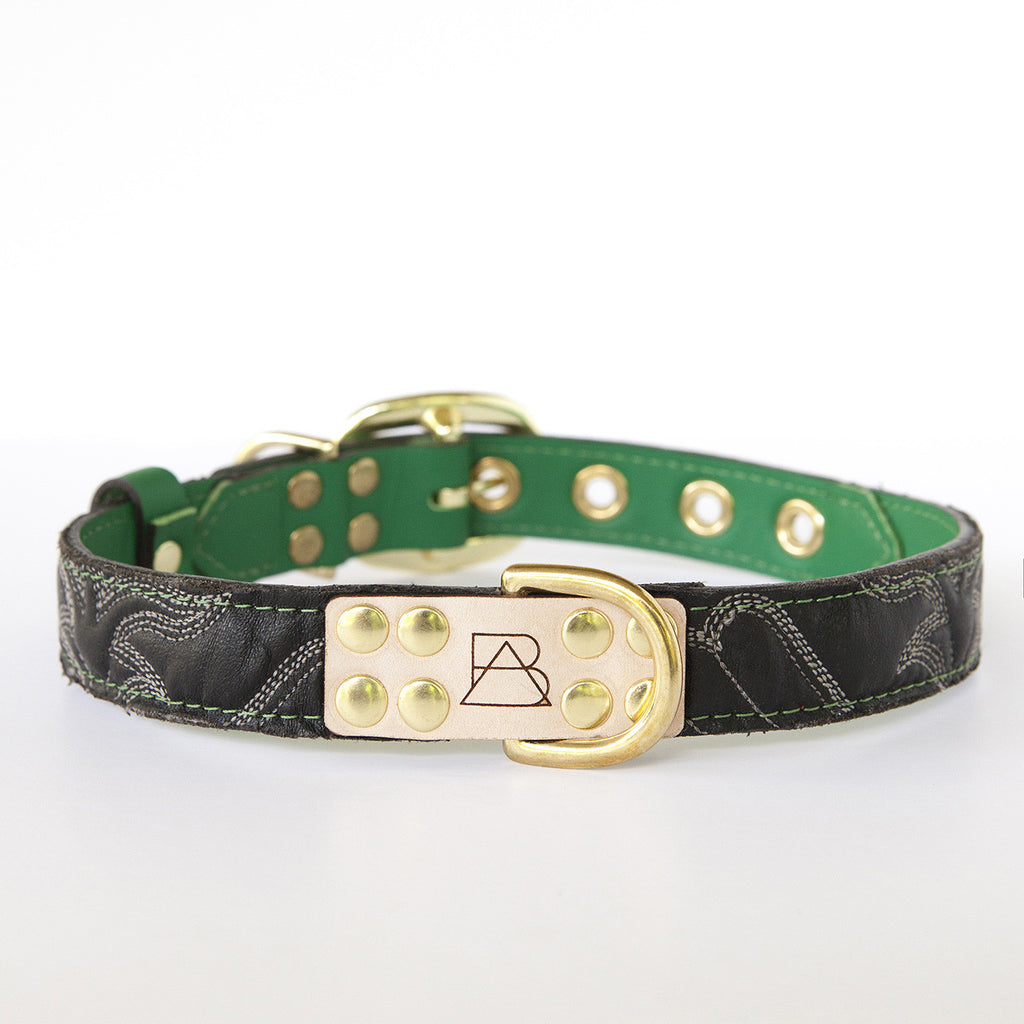 Emerald Green Dog Collar with Black Leather + White Stitching (front view)