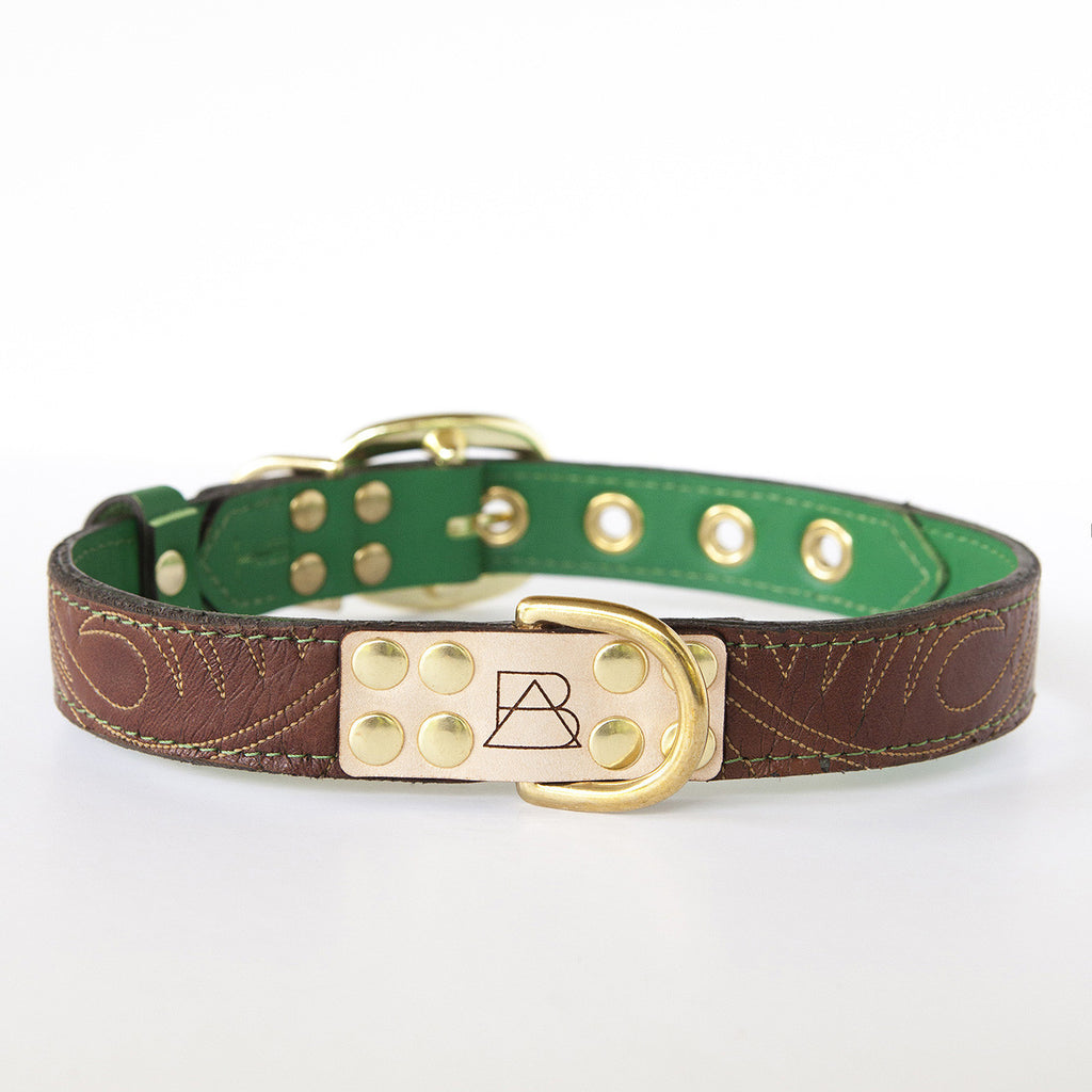 Emerald Green Dog Collar with Brown Leather + Tan Stitching (front view)
