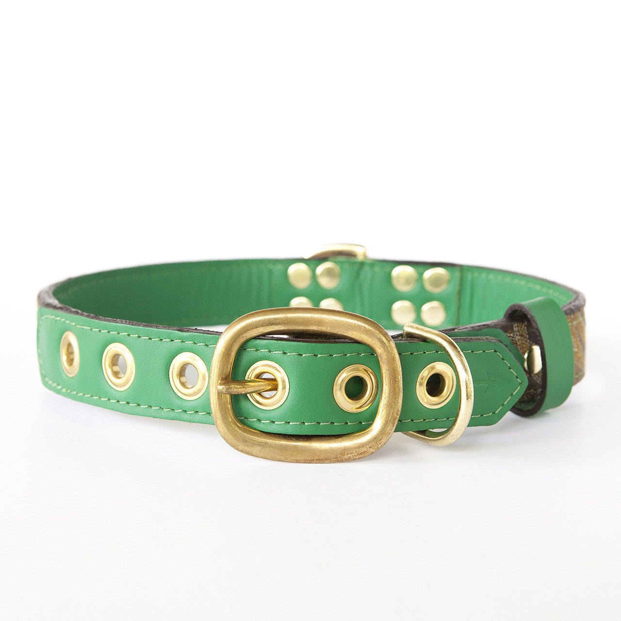 Emerald Green Dog Collar with Dark Brown Leather + Yellow and Tan Stitching (back view)