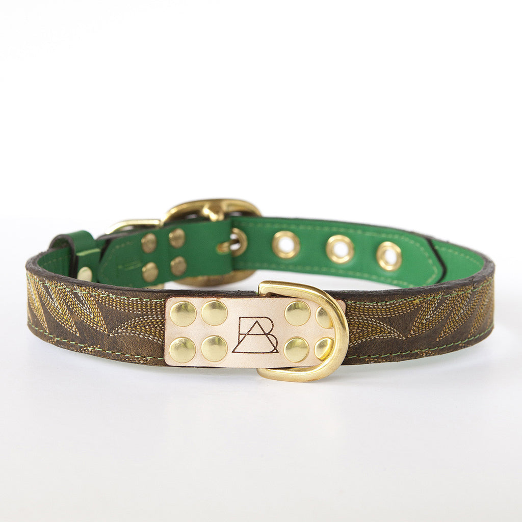 Emerald Green Dog Collar with Dark Brown Leather + Yellow and Tan Stitching (front view)