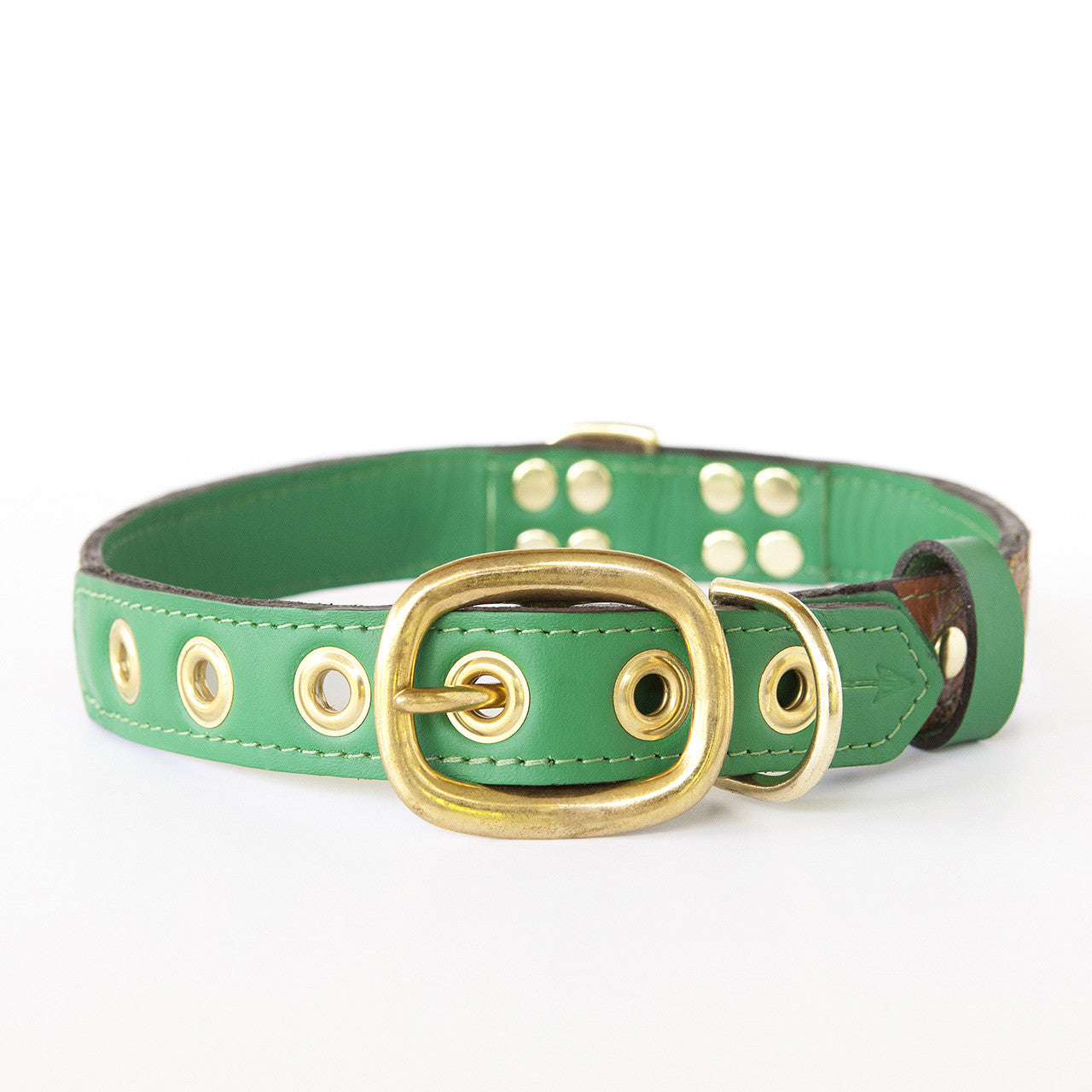 Emerald Green Dog Collar with Brown Leather + Green and Yellow Stitching (back view)