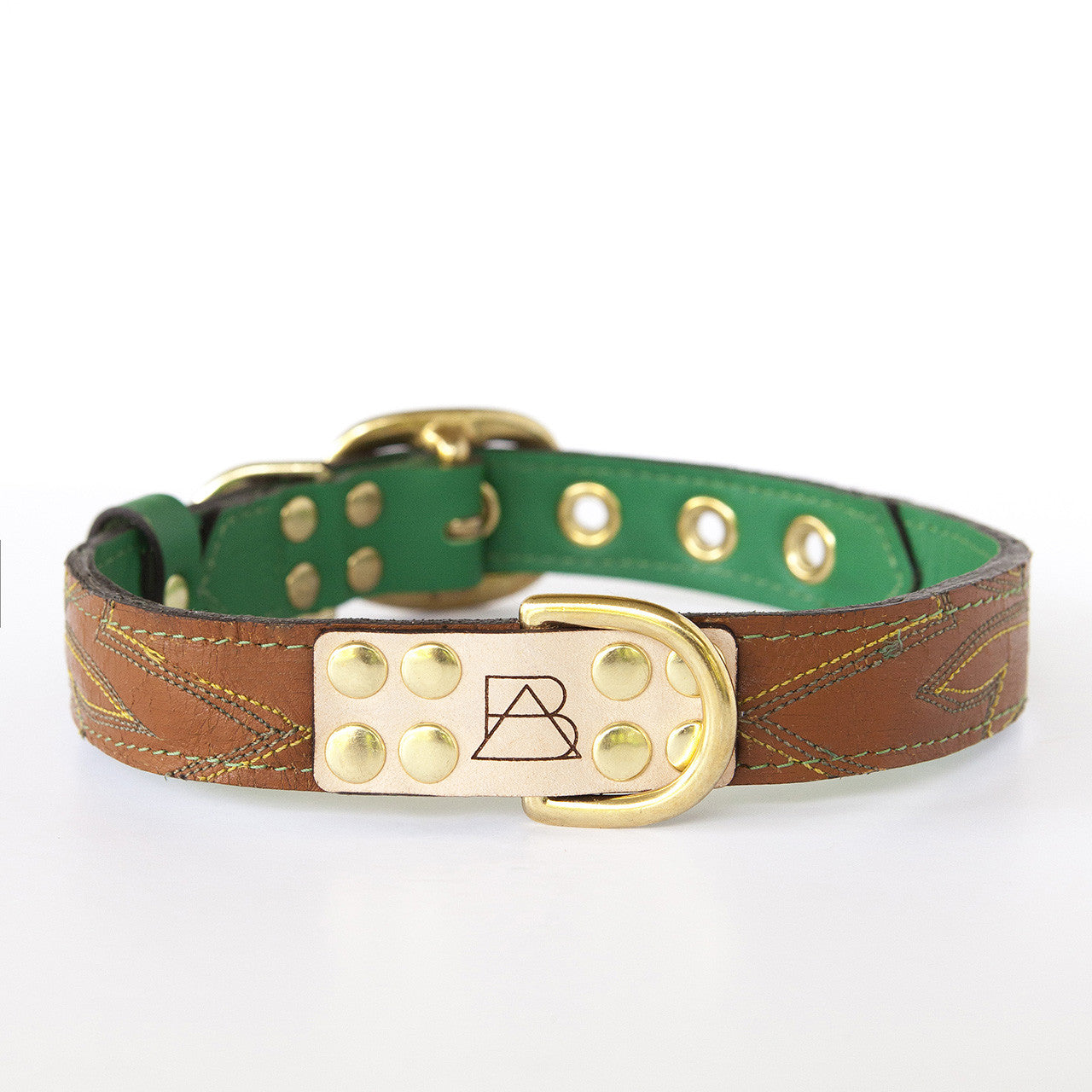 Emerald Green Dog Collar with Brown Leather + Green and Yellow Stitching (front view)