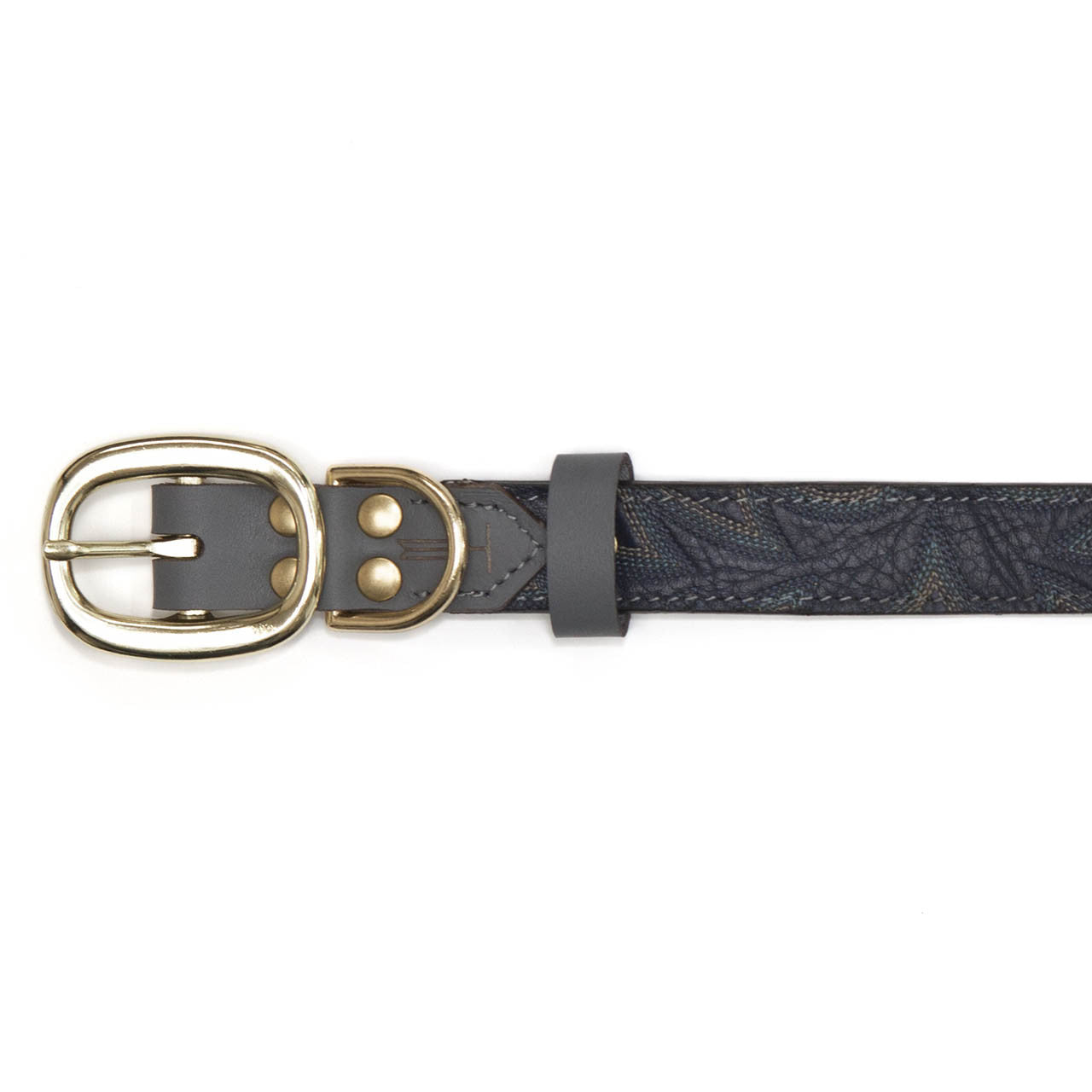 Gray Dog Collar with Navy Leather + Blue Stitching (buckle)