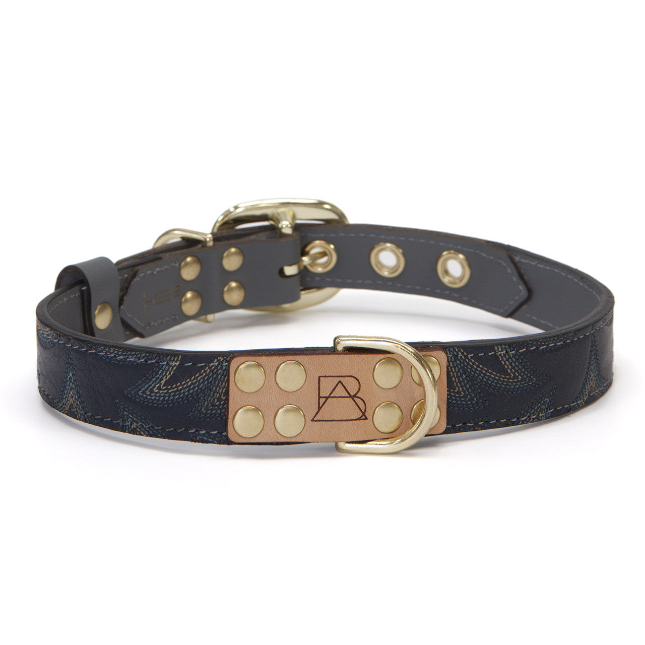 Gray Dog Collar with Navy Leather + Blue Stitching (front view)