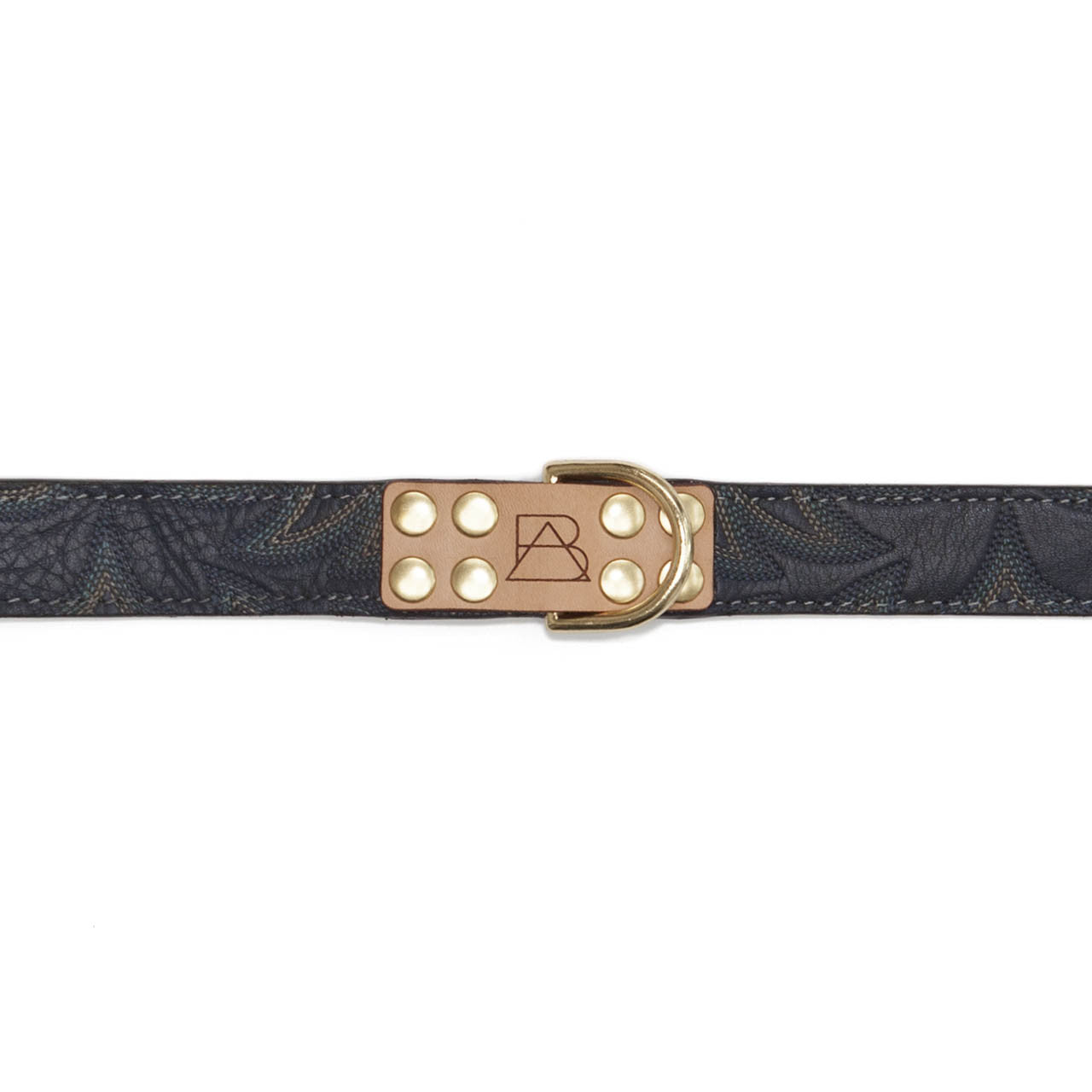 Gray Dog Collar with Navy Leather + Blue Stitching (tag)
