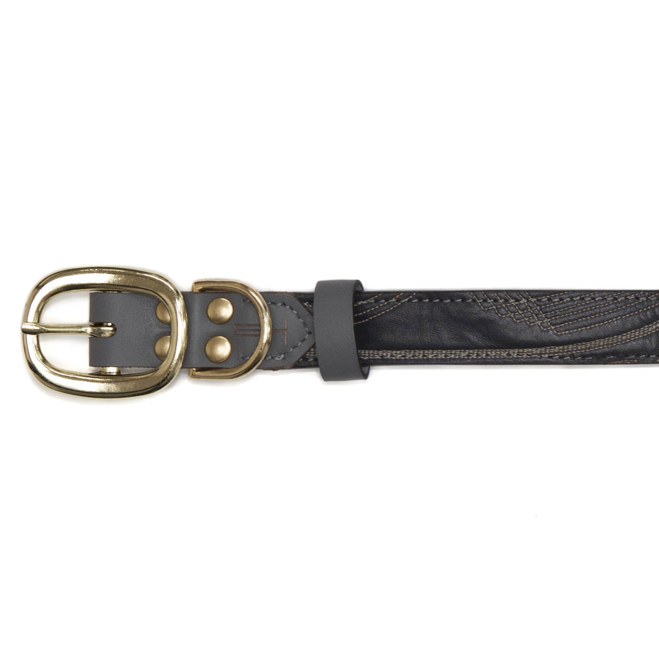 Gray Dog Collar with Navy Leather + Tan/White Stitching (buckle)